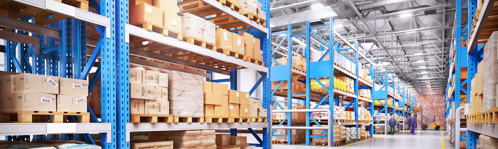 Warehouse with supply chain resources.